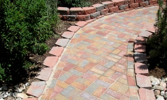Multi-color brick pathway with an old world feel