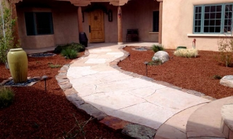 Hardscaping with rocks, mulch and flagstone