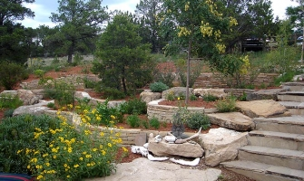 Rock work, flagstone steps and Xeriscaping