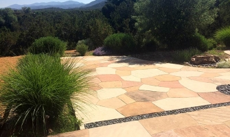 "Flagstone patio with 1/8"" gaps & chiseled edges"