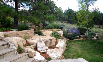 Xeriscaped landscaping with native grass