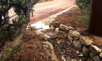 Rainwater channeled to prevent erosion
